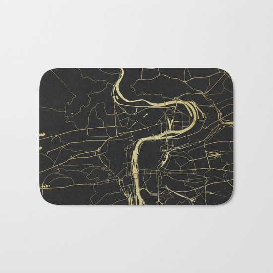 Prague Black and Gold Map Bath Mat