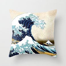 Kanagawa Oiled Throw Pillow