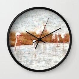 Seven Flamingos A Feeding Watercolor Wall Clock