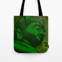 buddah Tote Bags featuring Buddah Head 02; Green  by Kether Carolus