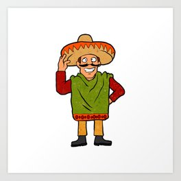 Cartoon happy Mexican Art Print