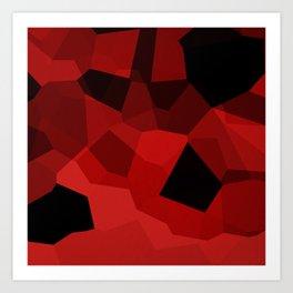 Red Polygon Pattern Art Print