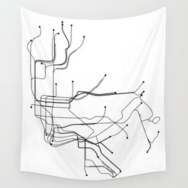 New York City White Subway Map Wall Tapestry
