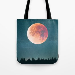 Blood Moon Over the Forest on a Starry Night Tote Bag