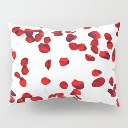 Red rose petals watercolor painting Pillow Sham