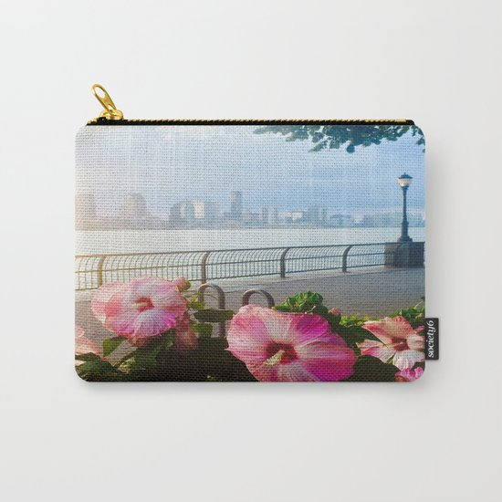 Battery Park New York City Skyline with Pink Hibiscus Flowers Carry-All Pouch
