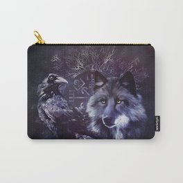 Raven and Wolf - Vegvisir and Tree of life Carry-All Pouch