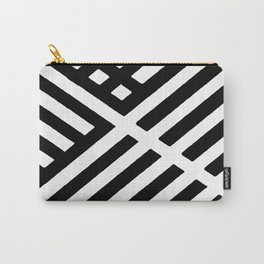 BLACK AND WHITE INTERSECTION PATTERN Carry-All Pouch