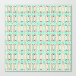 SKATEBOARDS ((seafoam green, melon, pink)) Canvas Print