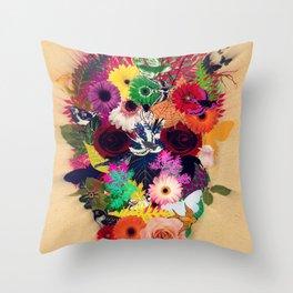 skull of flowers Throw Pillow
