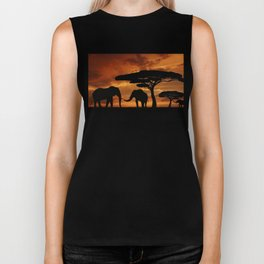 African elephants silhouettes in sunset Biker Tank