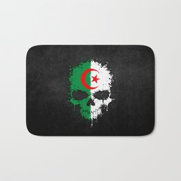 Flag of Algeria on a Chaotic Splatter Skull Bath Mat