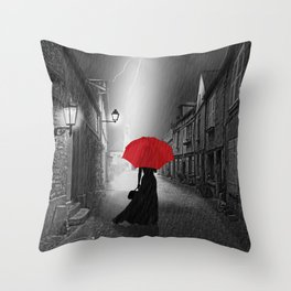 Alone in the rainy night Throw Pillow