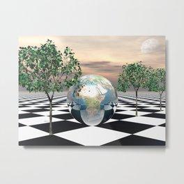 Checker Trees  Metal Print