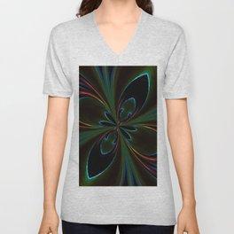 Neon Rainbow Digital Art Unisex V-Neck