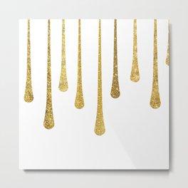 Gold Glitter Paint Drip Metal Print