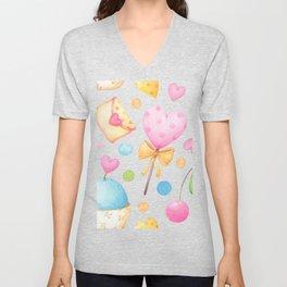 Watercolor Hearts Unisex V-Neck