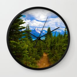 Maligne Lake from Above on the Bald hills hike in Jasper National Park, Canada Wall Clock