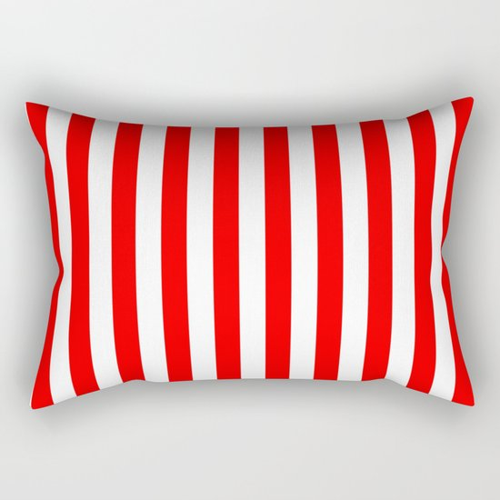 Vertical Stripes (Red/White) Rectangular Pillow