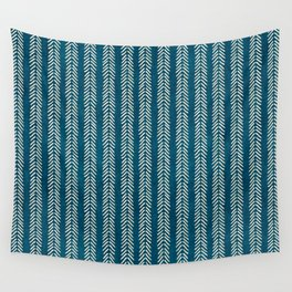 Mud cloth Teal Arrowheads Wall Tapestry
