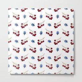Red berries and blue watercolor leaves pattern Metal Print