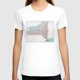 Map of the State of New York (1976) T-shirt