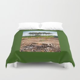 Woods logging one stump after deforestation Duvet Cover