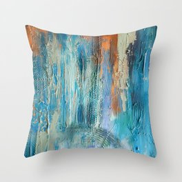 Symphony in Orange and Blue Throw Pillow