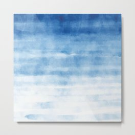 Blue Waves Watercolor Metal Print