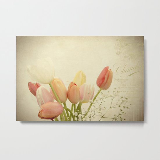 Spring Botanical -- Vintage French Tulips and Baby's Breath Metal Print