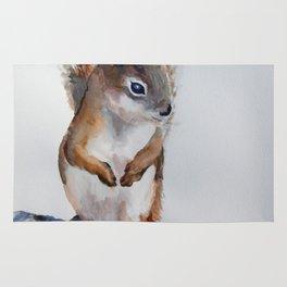 Watercolor Baby Squirrel Woodland Animals Nursery Series Rug