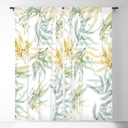 Modern chic pastel blue yellow watercolor floral Blackout Curtain