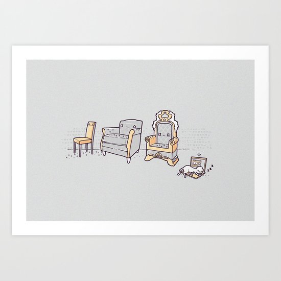 Cat and chairs Art Print