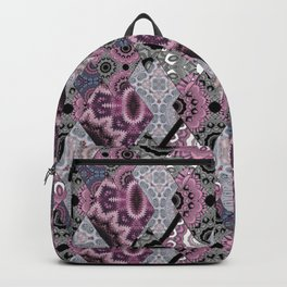The national pattern in the patchwork . Purple Backpack