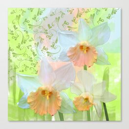 Artistic water colour, grunge swirls and daffodils Canvas Print