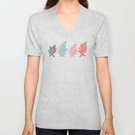 Inked Ferns – Red & Green Palette Unisex V-Neck
