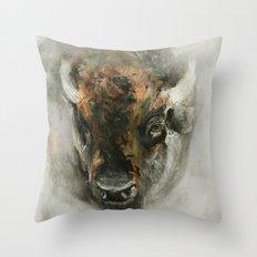 Plains Bison Throw Pillow