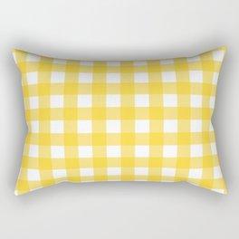 White & Yellow Gingham Pattern Rectangular Pillow