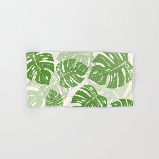 Linocut Monstera Leaf Pattern Hand & Bath Towel