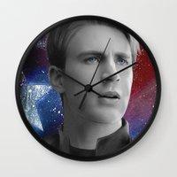 steve rogers Wall Clocks featuring Steve Rogers by Caim Thomas