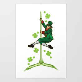 Pole Dance Leprechaun - Pole Fitness Ireland Lucky Art Print