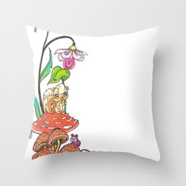 Forest shroomies Throw Pillow