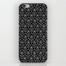Hand Drawn Hypercube Black iPhone Skin