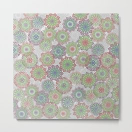 Doily Delight Crochet Watercolor Metal Print