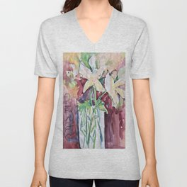 Wild Flowers in Color, Watercolors Unisex V-Neck