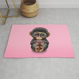 Cute Pink Baby Chimp Reading a Book Rug