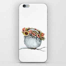 Owl and flowers iPhone Skin