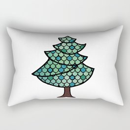 Mermaid Scales Christmas Tree Design With Glitter Accents Background Rectangular Pillow