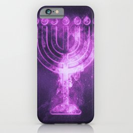 Hanukkah menorah symbol. Menorah symbol of Judaism. Abstract night sky background. iPhone Case