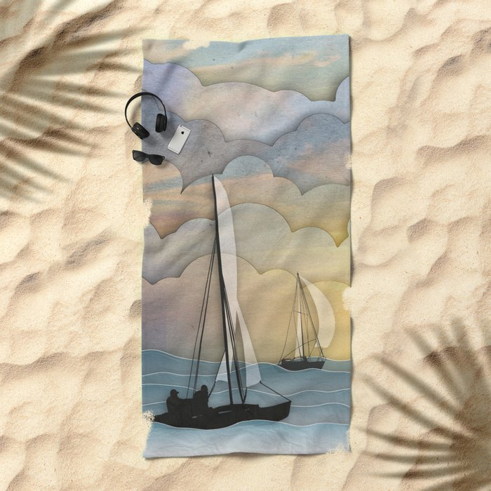 Sailing I Beach Towel